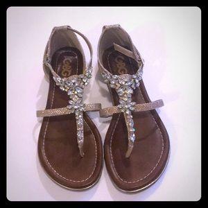 GUESS GBG DEER Sandals Women Gold Rhinestones